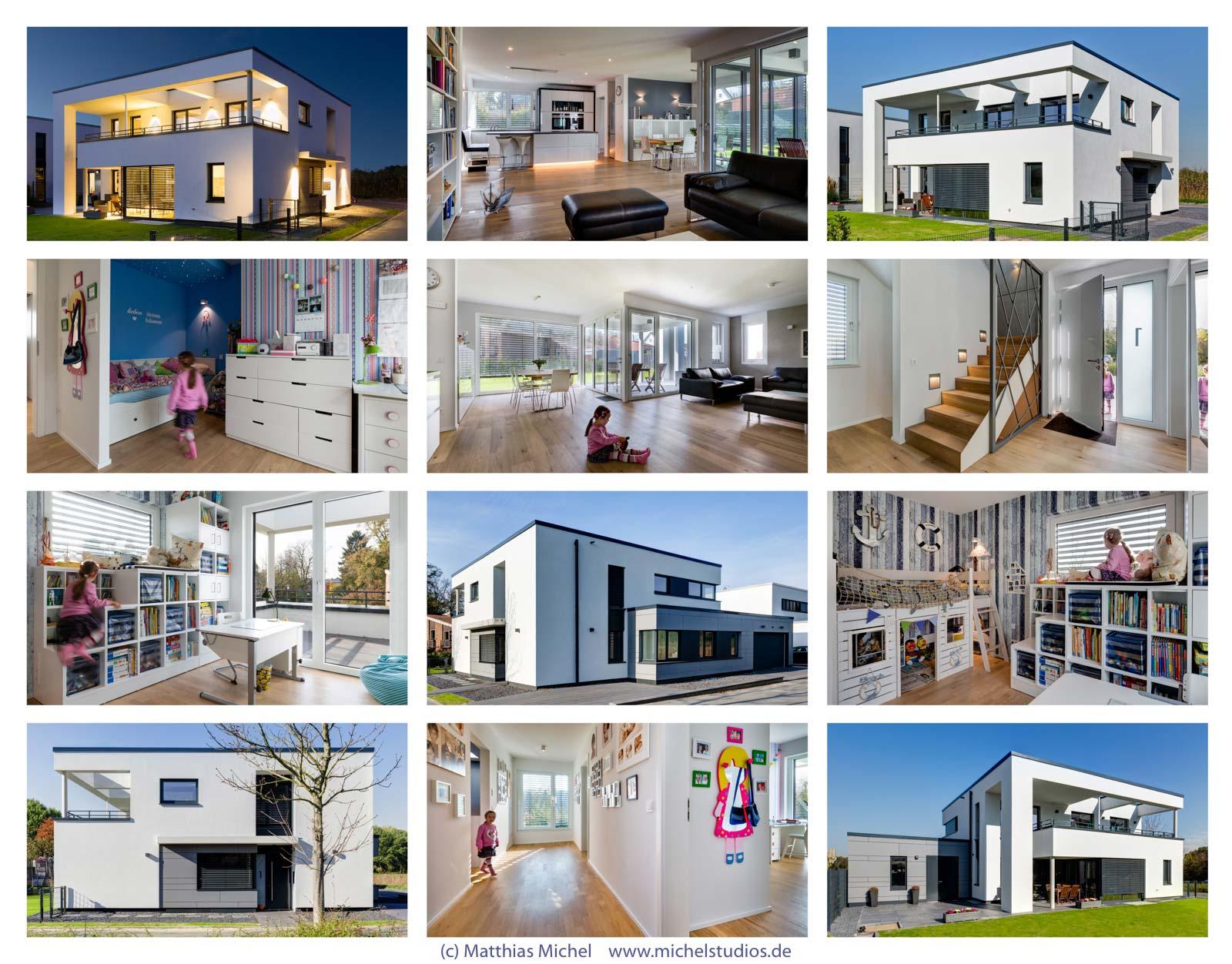 Architekturfoto Collage Wohnhaus Innenraumaufnahme und Außenaufnahme Tag und Nacht